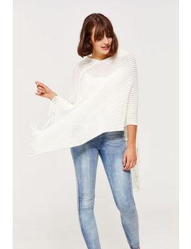 Fringed Rib Knit Poncho by Ardene