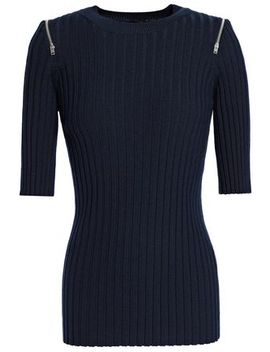 Zip Detailed Ribbed Merino Wool Blend Sweater by Joseph