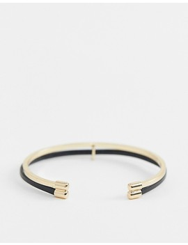 River Island Faux Leather Detail Cuff In Gold by River Island
