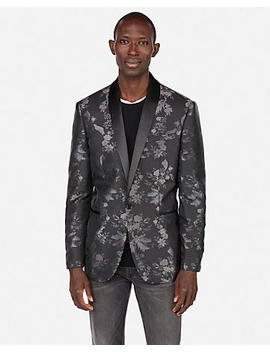 Slim Contrast Floral Tuxedo Jacket by Express