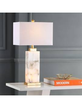 "Elizabeth 27.5"" Alabaster Led Table Lamp, White/Gold Leaf By Jonathan Y by Jonathan Y"