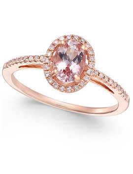 Morganite (5/8 Ct. T.W.) And Diamond (1/6 Ct. T.W.) Ring In 14k Rose Gold by Macy's