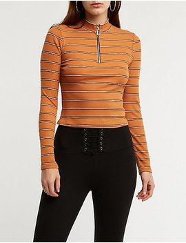 Mock Neck Zip Up Top by Charlotte Russe
