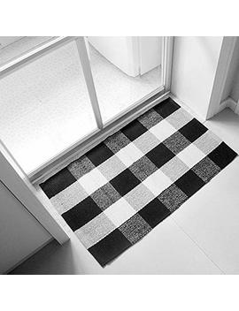 Ukeler 100 Percents Cotton Plaid Rugs Black/White Hand Woven Checkered Door Mat Washable Rag Throw Rugs, 23.5''x35.4'', Black And White Plaid Rug by Ukeler