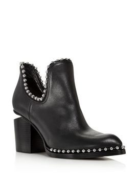 Women's Gabi Pointed Toe Studded Leather High Heel Ankle Boots by Alexander Wang