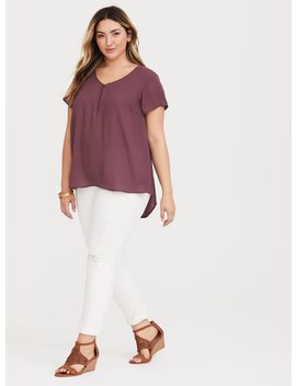 Eggplant Purple Zip Georgette Blouse by Torrid