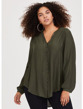 Olive Tie Neck Crepe Tunic by Torrid