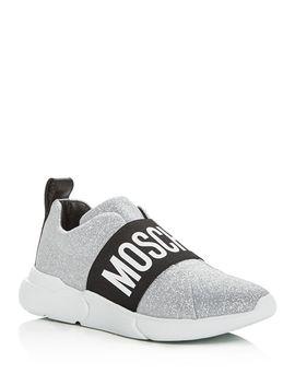 Women's Glitter Logo Slip On Sneakers by Moschino