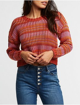 Multicolor Knit Crop Sweater by Charlotte Russe