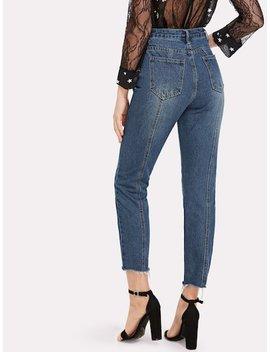 Raw Hem Ankle Jeans by Sheinside