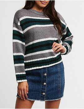 Striped Split Hem Sweater by Charlotte Russe