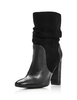 Women's Round Toe Leather & Suede High Heel Booties by Charles David