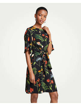 Wild Botanical Tie Front Flare Dress by Ann Taylor