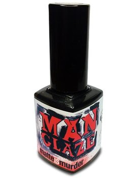 Matte Black Nail Polish, Matte Is Murder   (Manko Attack Label Art) by Man Glaze