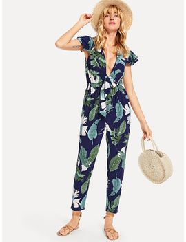 Tropical Print Plunging Neck Knot Jumpsuit by Shein