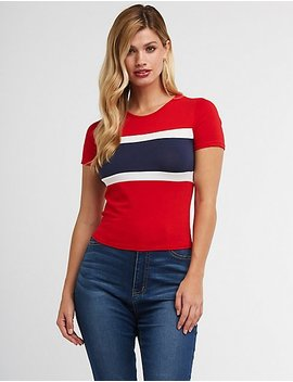 Color Block Stripe Tee by Charlotte Russe