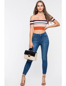 Melanie High Waist Skinny Ankle Jean by A'gaci
