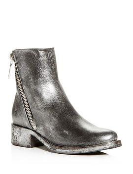 Women's Demi Distressed Painted Leather Block Heel Booties by Frye
