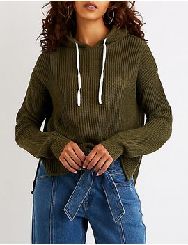 Hooded Drawstring Pullover Sweater by Charlotte Russe