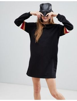 Bershka Stripe Sleeve Sweat Dress by Bershka
