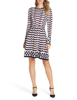 Artwork Jacquard Sweater Dress by Eliza J