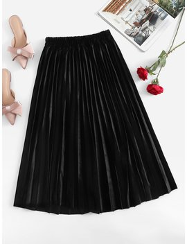 Velvet Elastic Waist Pleated Skirt by Romwe