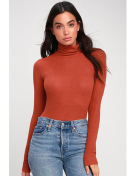 All You Want Rust Orange Thermal Turtleneck Bodysuit by Free People