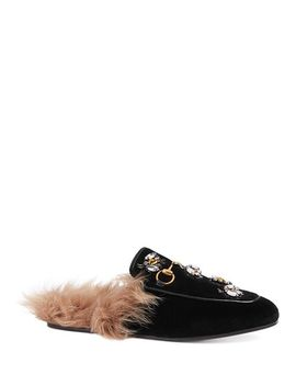 Women's Princetown Embroidered Velvet & Lamb Fur Mules by Gucci