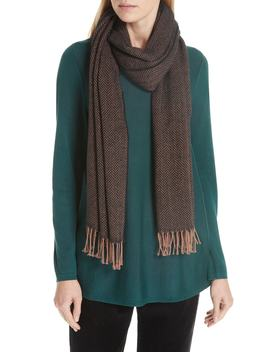 Herringbone Cotton Knit Scarf by Eileen Fisher