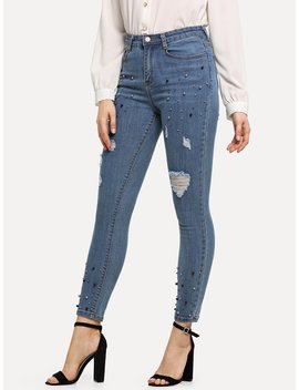 Beaded Ripped Jeans by Romwe