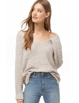 Vented Open Knit Sweater by Forever 21