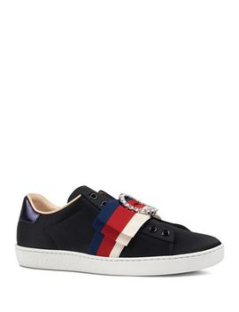 Women's Ace Bow Satin Slip On Sneakers by Gucci