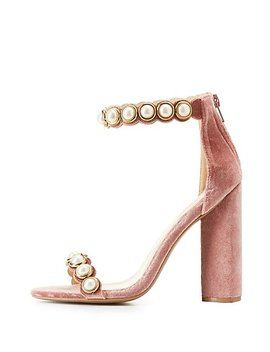 Pearl Embellished Two Piece Sandals by Charlotte Russe