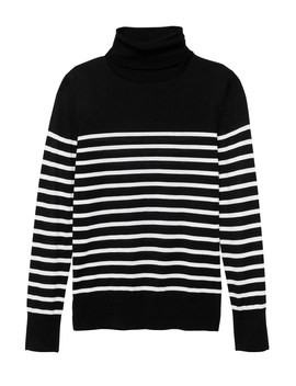 Machine Washable Merino Wool Stripe Turtleneck Sweater by Banana Repbulic