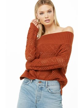 Off The Shoulder Crochet Sweater by Forever 21