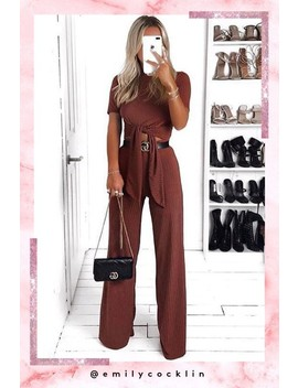 Faye Rust Ribbed Tie Front Co Ord by Misspap