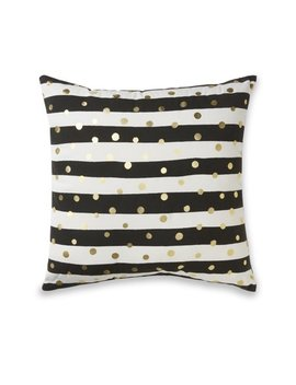 Mainstays Black And White With Metallic Gold Dots Throw Pillow by Mainstays