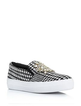 Women's Gizelle Embellished Houndstooth Slip On Sneakers by Kate Spade New York