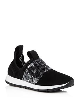 Women's Oakland Embellished Mesh & Suede Slip On Sneakers by Jimmy Choo