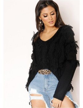 Katarina Black Fringing Cropped Jumper by Missy Empire