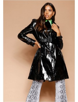 Charlotte Black Patent Trench Coat by Missy Empire