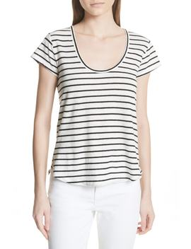 Navigate Stripe Linen Cotton Tee by Theory