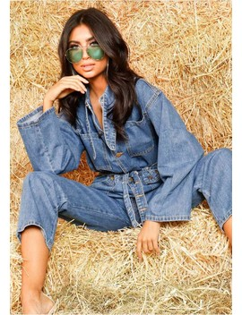 Macy Denim Utility Jumpsuit by Missy Empire