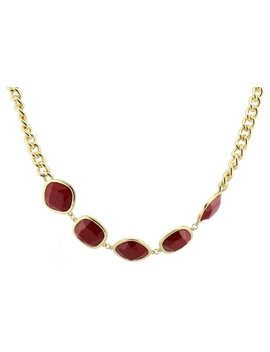 Fundaisy 5 Stones Chain Bib Statement Necklace   Wine Red  Waist Chain/Necklace by Fundaisy