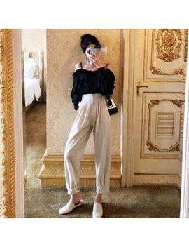 Be Bonita   Off Shoulder Long Sleeve Chiffon Top / High Waist Cropped Pants by Be Bonita