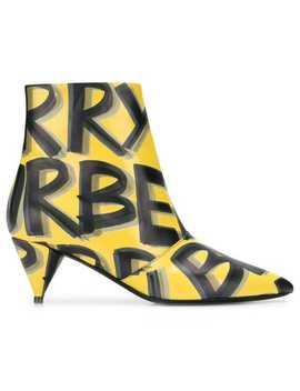 Graffiti Print Leather Ankle Boots by Burberry
