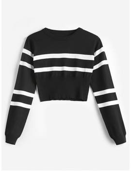 Striped Round Neck Short Sweater   Black by Zaful