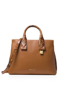 Rollins Large Leather & Snakeskin Embossed Leather Satchel by Michael Michael Kors