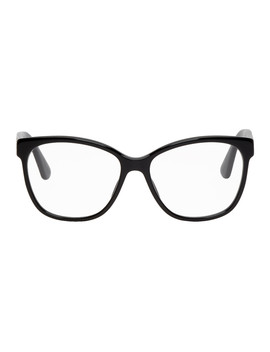Black Crystal Logo Cat Eye Glasses by Gucci