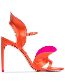 Orange And Pink Lucia 100 Satin Ruffle Sandals by Sophia Webster